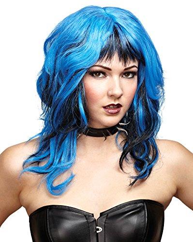 SALES4YA Costume-Wig Hard Rockin Witch Black Blue Halloween Costume - 1 ()