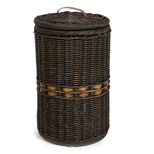 The Basket Lady Tall Wicker Trash Basket with Metal Liner, Antique Walnut Brown by The Basket Lady