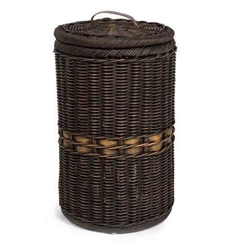 The Basket Lady Tall Wicker Trash Basket with Metal Liner, Antique Walnut (Metal Rattan Baskets)