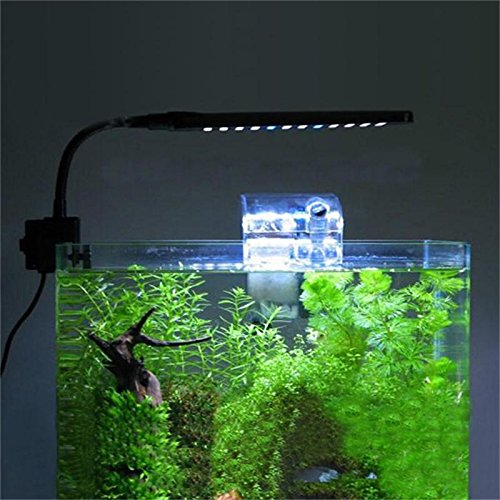 Super Bright 3W 2 Mode 48 LED Clip Aquarium Lights Flexible Fish Tank Clamp Clip Lamp With Touchable Inductive Switch(Blue&White LEDs)-White 1 Pack