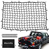Warmfits 4'x6' Super Duty Truck Bed Cargo Net Stretches to 8'x12' with 16 Mety D Clip Carabiners - Small 4'x4' Mesh Holds Small and Large Loads Tighter for Pickup Truck, Trailer, Boat, or RV