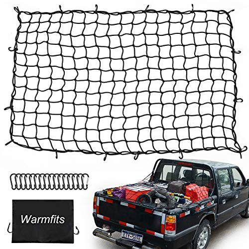 Warmfits 4'x6' Super Duty Truck Bed Cargo Net Stretches to 8'x12' with 16 Mety D Clip Carabiners - Small 4