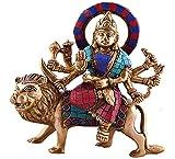 Durga Sitting on Tiger- Rare Hindu Goddess Maa Kali Vaishno Devi Brass Statue