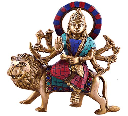 Rare Antique Bronze (Durga Sitting on Tiger- Rare Hindu Goddess Maa Kali Vaishno Devi Brass Statue)