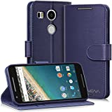 Nexus 5X Edition Leather wallet Case - Vena [vSuit] Draw Bench PU Leather Wallet Flip Cover with Stand and Card Slots for Google Nexus 5X / LG Nexus 5X - (Oxford Blue)