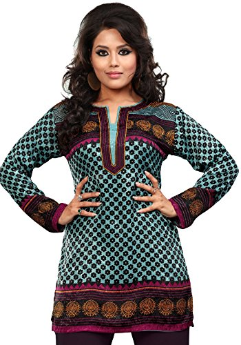 f253b8058c2b6 Indian Tunic Top Womens   Kurti Printed Blouse India Clothing