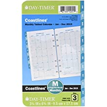 """Day-Timer Refill 2019, Two Page per Month, January 2019 - December 2019, 3-3/4"""" x 6-3/4"""", Loose Leaf, Portable Size, Coastlines (13970)"""