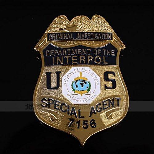 1 pieza de los emblemas de la INTERPOL internacional de los Centros Estadounidenses para Washington D.C. Mesa agentes insignia de cobre