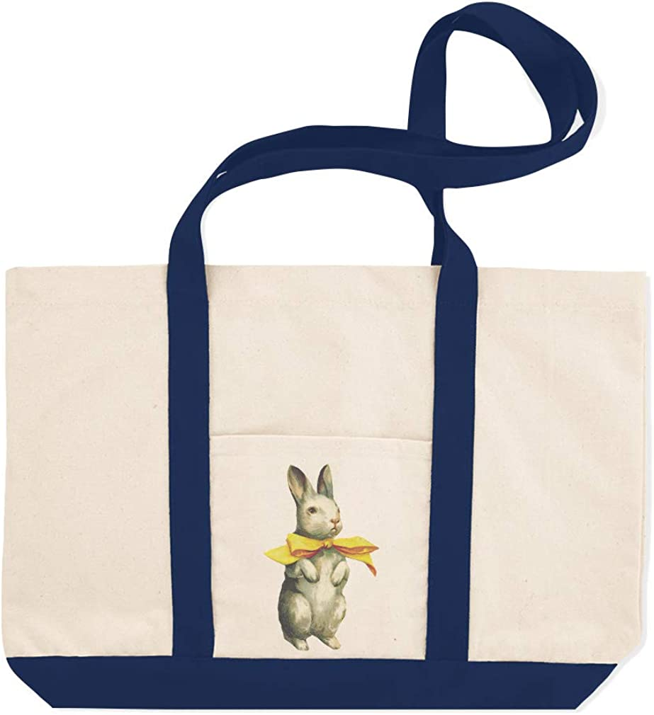 Canvas Shopping Tote Bag White Rabbit with A Yellow Bow Easter Holidays and Occasions White Rabbit