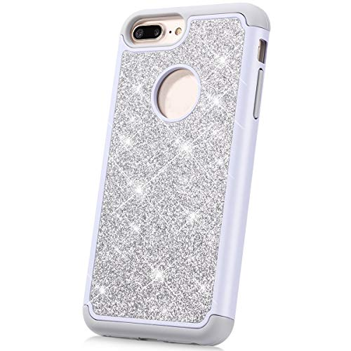 Case for iPhone 6S Plus/6 Plus Glitter Case,Women Girl Glitter Sparkle Bling Heavy Duty Defender Full-body Protective Hard Shell Shockproof Silicone TPU Bumper Case Cover for iPhone 6 Plus, Silver
