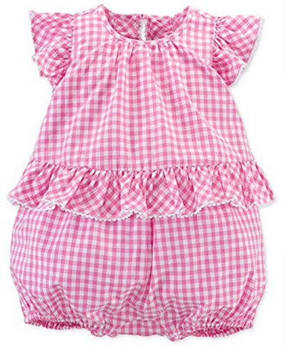 Ralph Lauren Baby Girls Gingham Romper Pink/White (12 (Gingham Sunsuit)