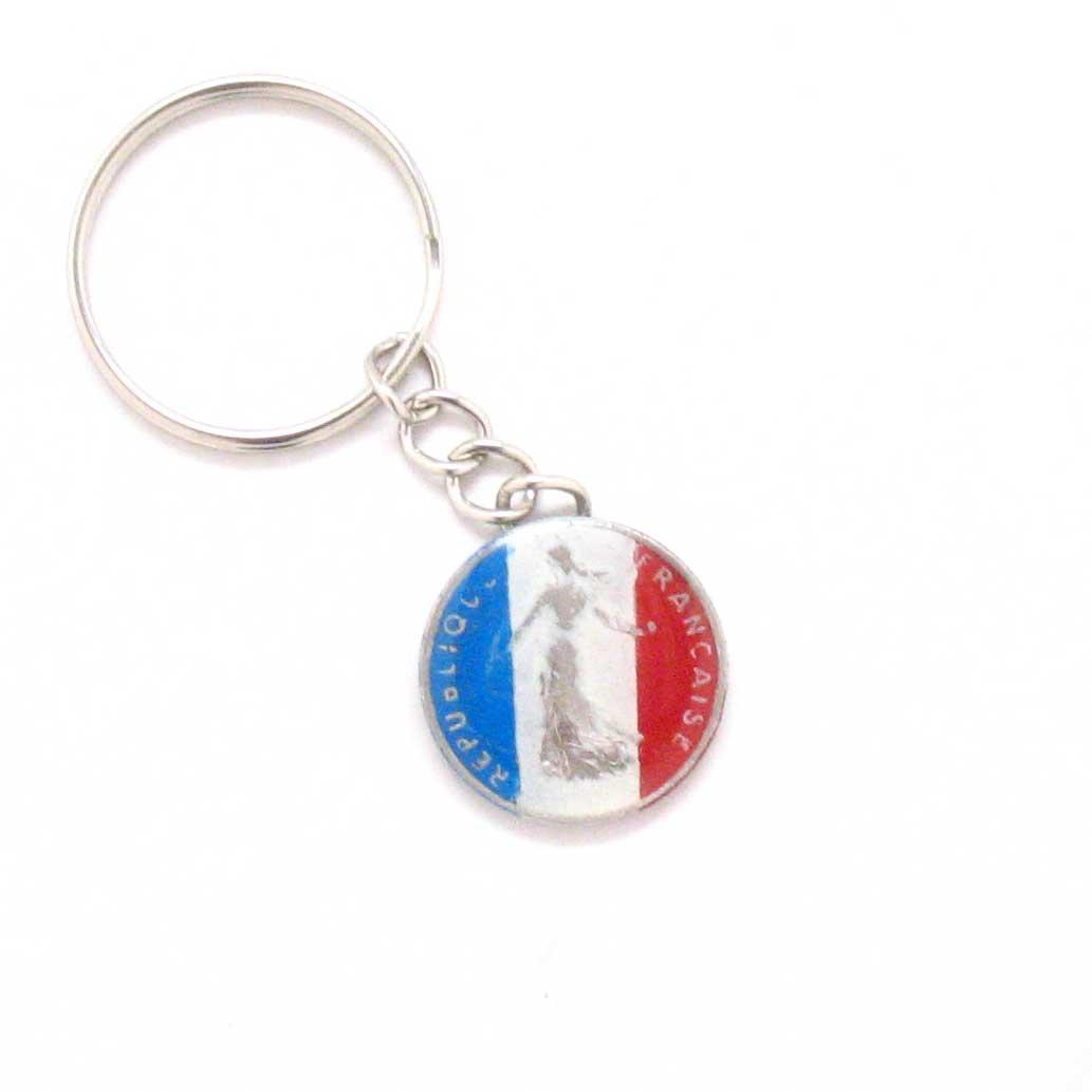 France Key Chain Car Coin Flag French Paris Marseille Lyon Souvenir Gift Business
