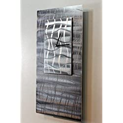Natural Silver Modern Art - Abstract Metal Wall Clock - Hanging Timekeeper - Contemporary Home Decor - Time Weaver By Jon Allen - 12-inch