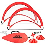Abco Tech Portable Soccer Goal Set Training, Practice & Game – Pop-up Soccer Net – 2 Soccer Goals, 6 Disc Cones & 8 Spikes – Carry Bag – Easy to Assemble & Store – Be it Backyard Public Fields