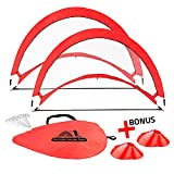 Abco Tech Portable Soccer Goal Set for Training, Practice & Game - Pop-up Soccer Net - 2 Soccer Goals, 6 Disc Cones & 8 Spikes - Carry Bag - Easy to Assemble & Store - Be it Backyard or Public Fields
