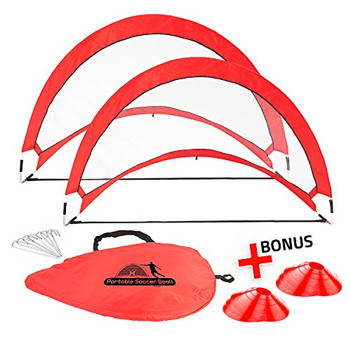 Abco Tech Portable Soccer Goal Set for Training, Practice & Game – Pop-up Soccer Net – 2 Soccer Goals, 6 Disc Cones & 8 Spikes – Carry Bag – Easy to Assemble & Store – Be it Backyard or Public Fields