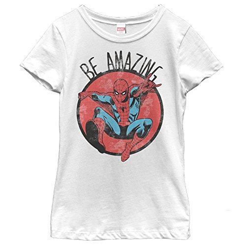 Marvel Girls' Spider-Man Be Amazing White T-Shirt