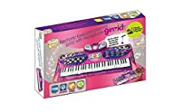 Ginzick Music Piano Electronic Keyboard Playmat with Microphone and Stand – Pink
