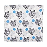 Swaddle Blankets, Muslin Cotton Receiving Blankets,Swaddling Wrap 47''x 47'',Stroller Pegs,Baby Bath Konjac Sponge Gift Set(1 Pack,Wolf)