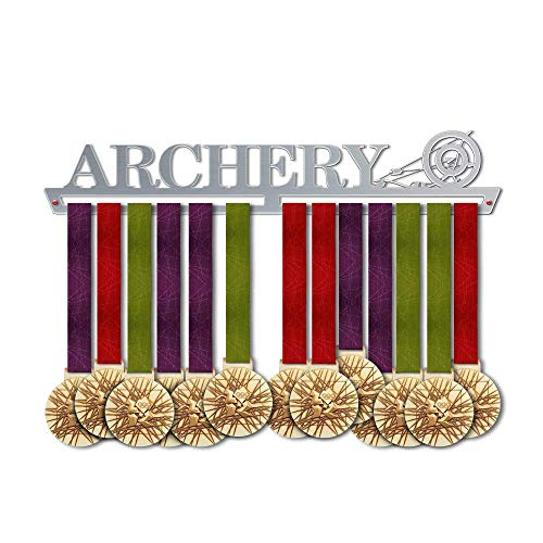 VICTORY HANGERS Archery Medal Hanger Display - Wall Mounted Award Metal Holder - 100% Stainless Steel Rack for Champions ()