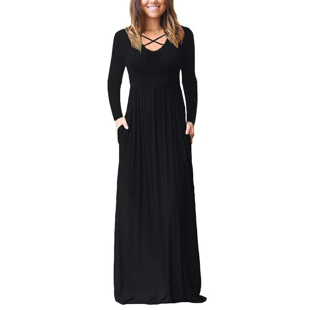 JESPER Women Long Sleeve Solid Color Pocket Plain Loose Casual Dress Maxi Dress US 0/2 Black