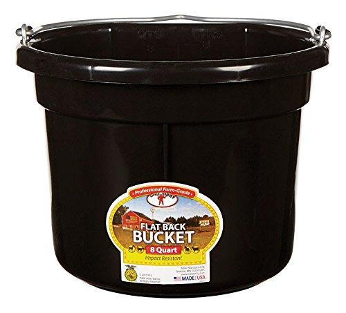 - Miller Manufacturing P8FBBLACK Plastic Flat Back Bucket for Horses, 8-Quart, Black