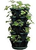 5-Tier Stackable Strawberry, Herb, Flower, Vegetable Planter - Vertical Gardening Indoor/Outdoor Stacking Garden Pots (1305-HG)