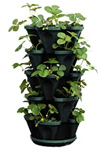 Mr. Stacky 1305-HG 5-Tier Stackable Strawberry, Herb, Flower, & Vegetable Planter - Vertical Gardening Indoor / Outdoor Stacking Garden Pots