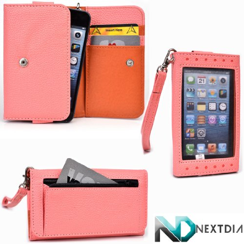 Smartphone Wallet for Nokia Lumia 800c with Exposed Screen to View Alerts |Clay Orange and Salmon Pink + NextDia Velcro Strap
