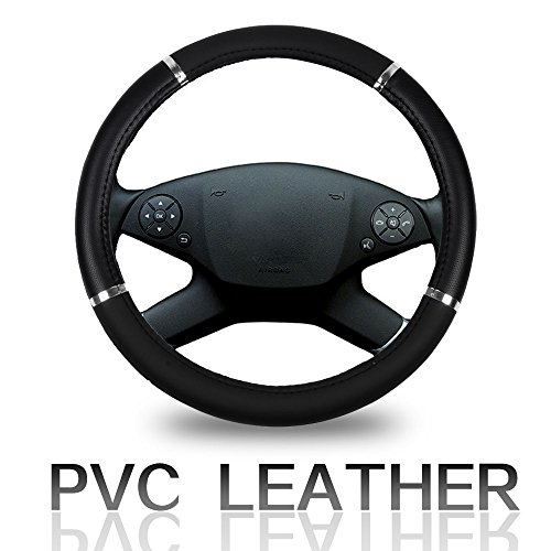 Cover 15 Inch Universal Leather - Black with Silver Grip Steering Wheel Cover ()