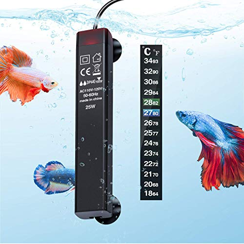 PGFUNNY 25W Aquarium Heater, Fish Tank Heater for Betta Smart Thermostat, Slim Design Fit 3 to 5 Gallon Tank, with Thermometer Strips