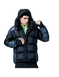 Fuerza Mens Winter Duck Feather Down Hooded Parka Jacket - Black - Small