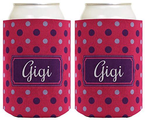 Mother's Day Gift for Gigi Cute Polka Dot 2 Pack Can Coolie Drink Coolers Coolies Polka Dot