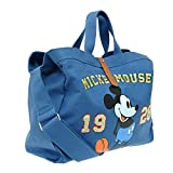 A158.Disney Mickey Mouse Women Cotton Oversize Tote Duffel Travel Weekend Bag (Blue)