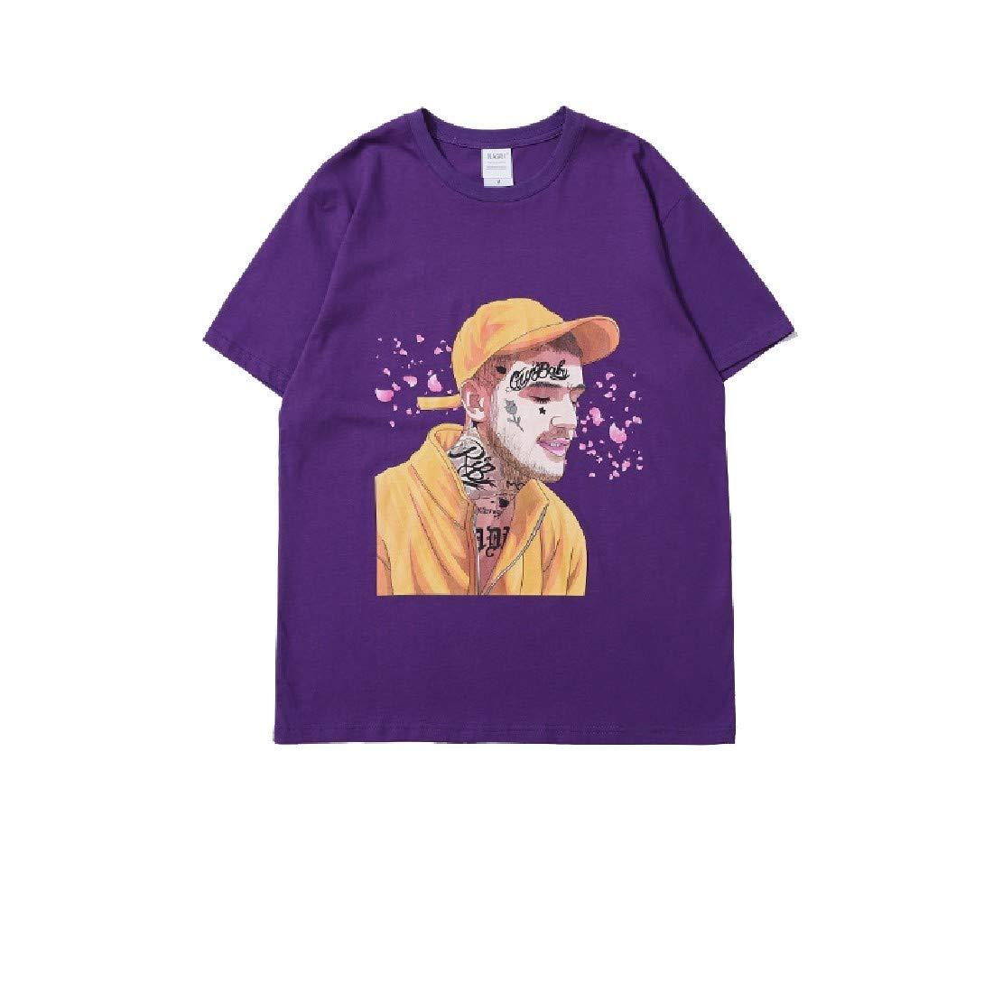 YUNY Mens Spring Spring Summer Short Sleeve Cartoon Summer Floral Scoop Polo Top Tshirt Purple S
