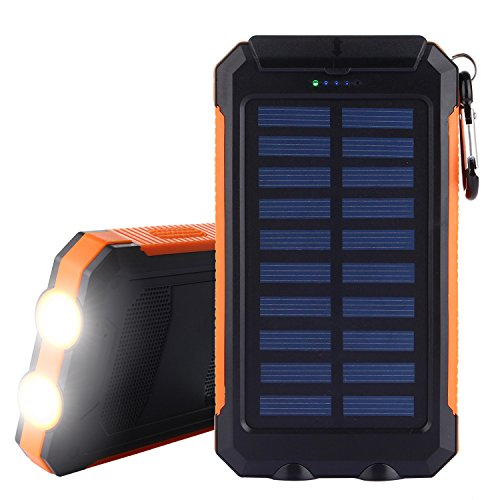 Solar Charger, Solar Power Bank 10000mAh External Backup Battery Pack Dual USB Solar Panel Charger with 2LED Light Carabiner Compass Portable for Emergency Outdoor Camping Travel-Orange by TechVibe
