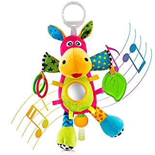 OKIKI Donkey Plush Stuffed Infant Toy, Baby Development Toys with Musical Box, Squeaky Feet, Kids Mirror, BPA Free Teether - Stroller, Crib, Carseat Baby Toys