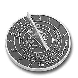 Wedding Anniversary Sundial Gift | Unique Present Idea For 1st, 10, 15, 20, 25, 30, 35, 40, 45, 50, 55 Or 60 Yr Anniversary For Him, For Her Or For A Couple. (10th - Tin Version)