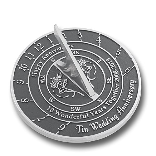 Looking For The Best 10th Tin Wedding Anniversary Gift? This Unique Sundial Gift Idea Is A Great Present For Him, For Her Or For A Couple To Celebrate 10 Years Of Marriage