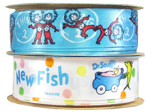 Offray Dr. Seuss Craft Ribbon: 18 Feet 7/8 Inch Satin Fabric Craft Ribbon For Gift Package Wrapping,Hairbow Clips,Sewing,Wedding,Scrapbook,Boy Girl Baby Shower-(2x3yd Thing One Thing Two New Fish)