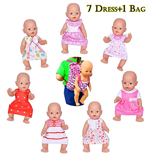 Ebuddy Doll Clothes Include 7pc Doll Dress+1pc Backpag for 14-16 inch Alive Baby Dolls, New Born Baby Dolls and 18 inch American Girl Dolls,Our generation girl dolls, Journey girl dolls (Born Clothes Baby)