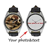 InterestPrint Personalized Custom Gift Men's Casual Leather Strap Wrist Watch with Your Photo or Text