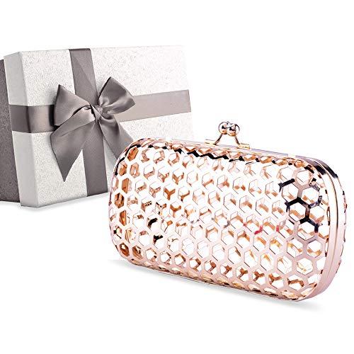 (Womens Evening Clutch Bag, Designer Clutch Bag Evening Handbag,Wedding Bag,Ladies Party Clutch Purse,Gift Choice with Gift Box (Gold-Metal Hollow-round)