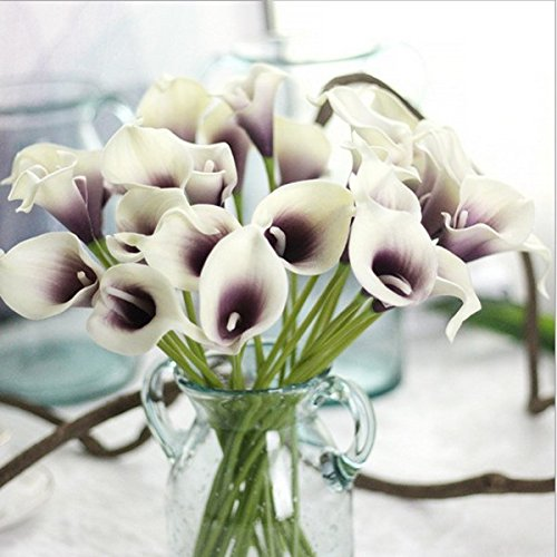 Amazon.com: Homyl 9 Pcs PU Artificial Flowers Calla Lily Bouquet Artificial plants for Home Decor, Wedding or Garden - White Purple, 34.5cm: Home & Kitchen