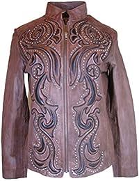 Long-Sleeve Leather Jacket , Size-S