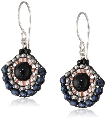 Miguel Ases Onyx and Hematite Small Fan Drop Earrings