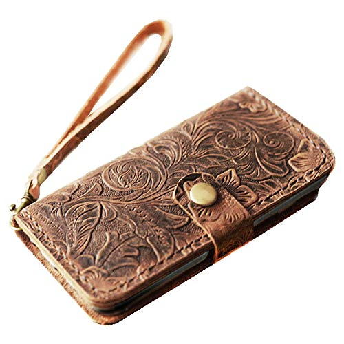 Genuine Italian Leather Case for iPhone 8 / iPhone 7(4.7 inch)Wallet Case Handmade Luxury Retro classic cover slim Wristlet Tooled Flower - Leather Italian Genuine