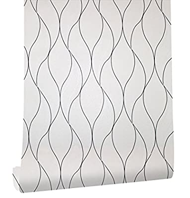 HaokHome 630601 Modern Chevron Stripe Peel and Stick Wallpaper Rock Beige/Black/Silver Self Adhesive Contact Paper