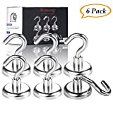 Magnetic Hooks, Wukong 80LB Heavy Duty Neodymium Rare Earth Magnet Hook,Ideal for Home, Kitchen, Workplace, Office Garage,Indoor/Outdoor Hanging, Pack of 6