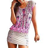 VIASA_ Women Fancy Dresses, Retro Patter Print Mini Dress Short O-Neck Beach Skirt (Hot Pink, XL)